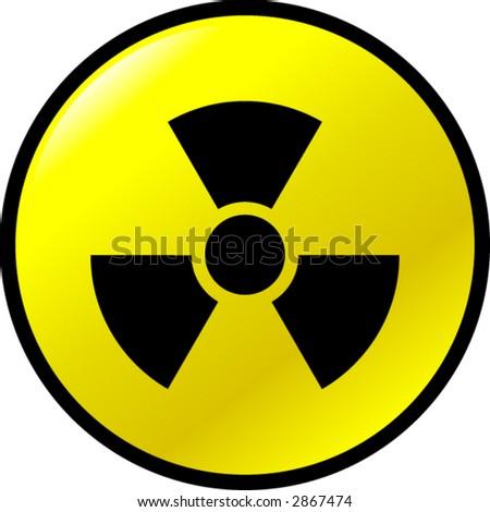 radioactive button - stock vector