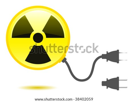 Radioactive icon with connector plug - vector - stock vector