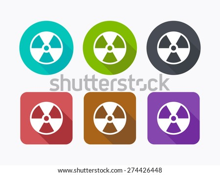 Radioactive icons in flat design. Vector illustration. - stock vector