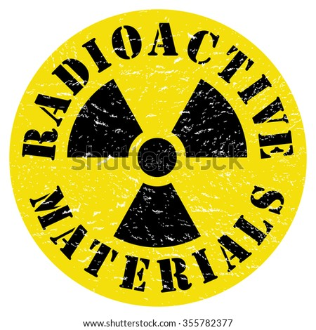 Radioactive materials distressed radiation hazard trefoil symbol design.