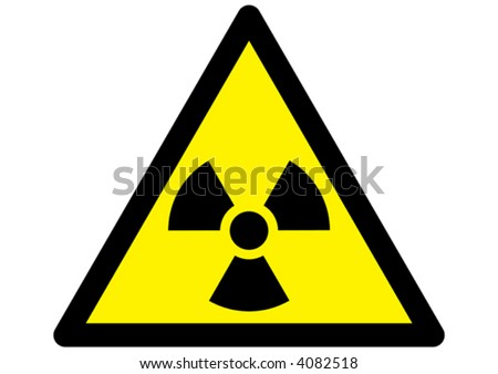 radioactive nuclear warning symbol on yellow triangular sign