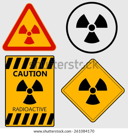 Radioactivity sign, caution radioactive, Nuclear danger, warning sign set - vectors - stock vector