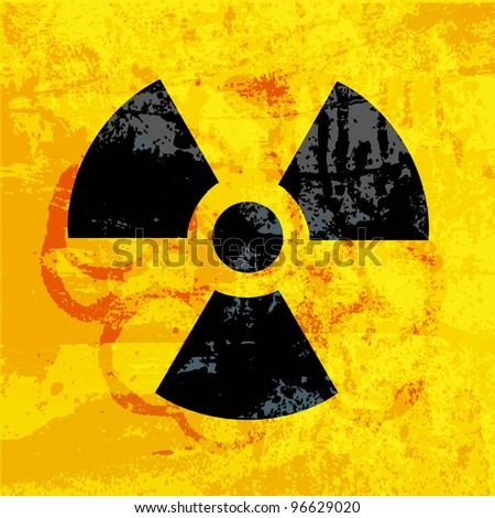 radioactivity symbol on  grungy background - stock vector