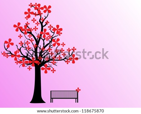 raditional japanese tree and bench, vector illustration, eps10