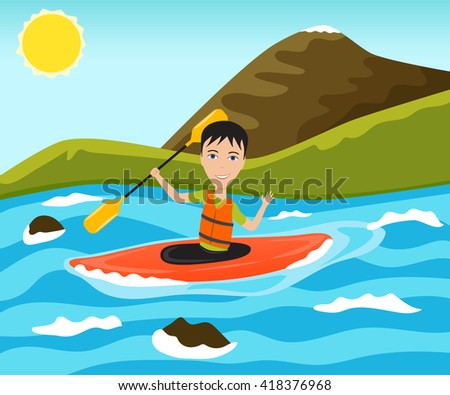 Rafting and kayaking sport. Funny man waves his hand. Vector illustration. - stock vector