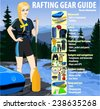 Rafting gear guide infographic vector illustration - stock vector