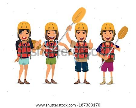 Rafting Tourist - vector illustration - stock vector