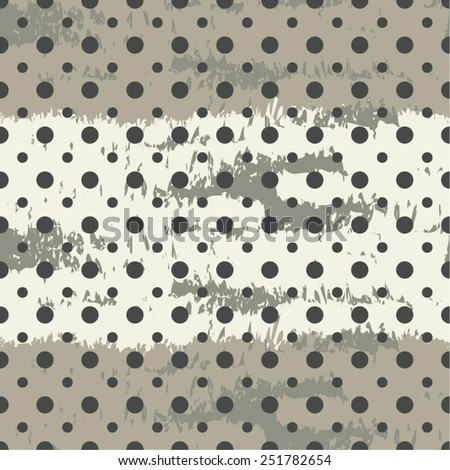 Ragged monochrome dot pattern, seamless vector background. - stock vector
