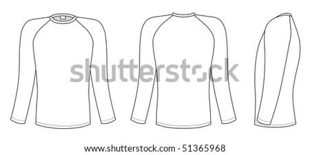 Raglan sleeve t-shirt - stock vector