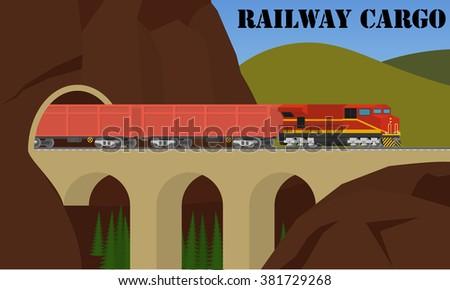 Rail transportation. Freight railroad train over the bridge. - stock vector
