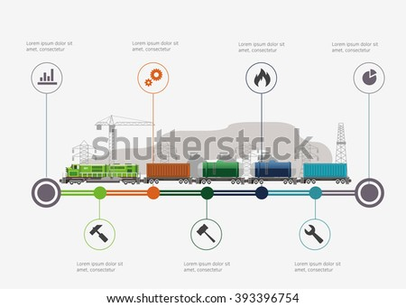 Rail way infographic time line. Industry and train transportation concept. Vector illustration - stock vector