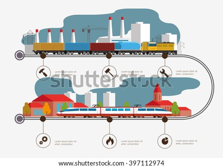 Rail way infographic time line. Passenger and cargo transportation. Industry and train transportation concept. Vector illustration - stock vector