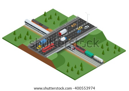 Railroad and bridge with traffic. Transport car, urban and asphalt, traffic. Isometric 3d vector illustration for infographics.
