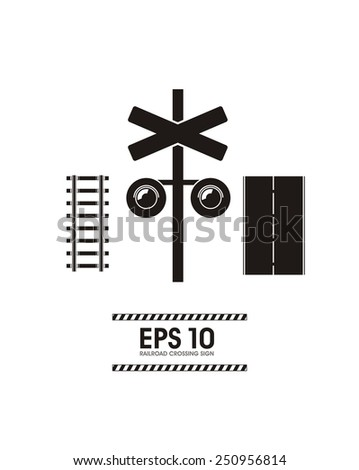 railroad crossing simple illustration - stock vector