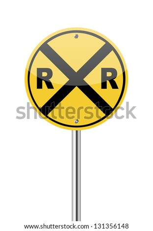Railroad crossing traffic sign on white - stock vector