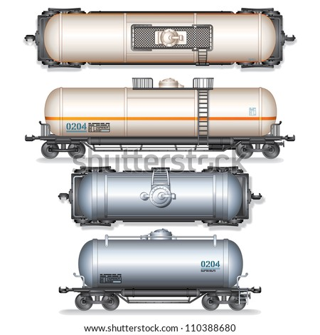 Railroad Gasoline and Oil Tanks. Set of Detailed Vector Illustration. - stock vector