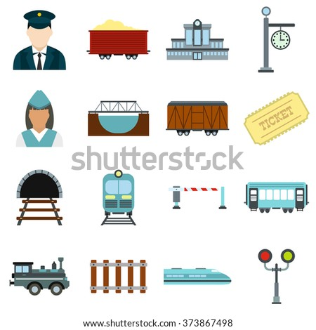 Railroad icons. Railroad icons set. Railroad icons collection. Railroad icons flat. Railroad icons vector. Railroad icons art. Railroad icons picture. Railroad icons shape - stock vector
