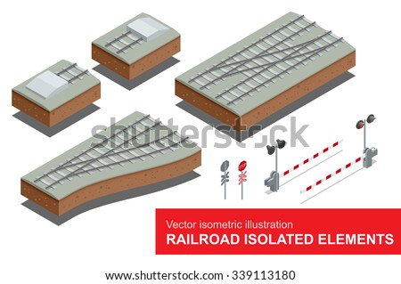 Railroad isolated elements for rail freight transportation. Vector flat 3d isometric illustration of  railroad signal, rail sections, traffic sign stop. Rail freight transportation. - stock vector