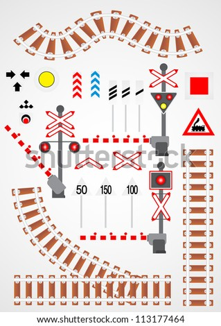 Railroad set - stock vector