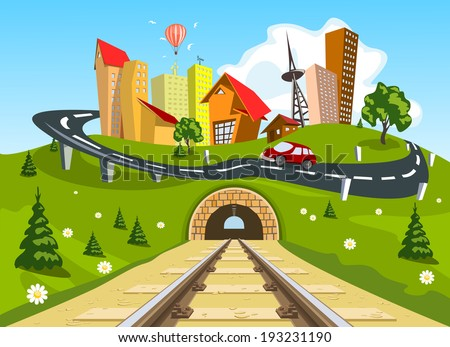 Railroad tracks through landscape to the city - stock vector