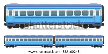 railway carriage train vector illustration isolated on white background - stock vector