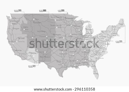 Railway map of United States - stock vector