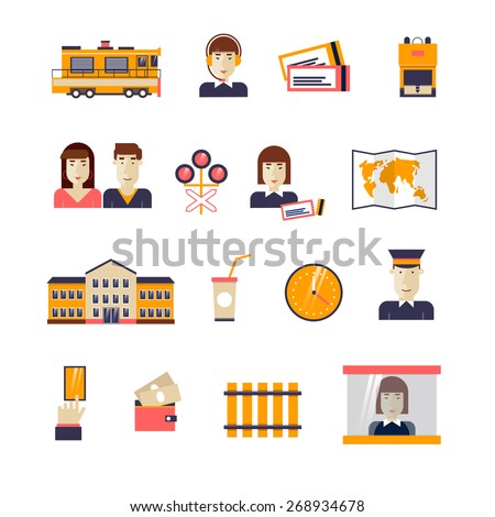 Railway set icons: train, conductor, train station, rails, passenger conductor, operator, traffic lights, map, backpack, card, cash, driver. Flat design. - stock vector