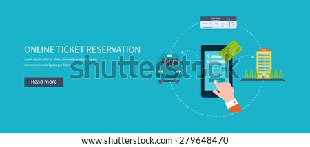 Railway station concept. Train on railway. Online ticket reservation. Flat icons vector illustration. - stock vector
