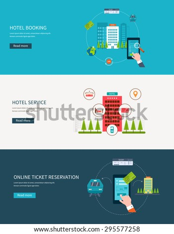 Railway station concept. Train on railway. Online ticket reservation. Hotel booking. Flat design modern vector illustration icons set of urban landscape and hotel service. - stock vector