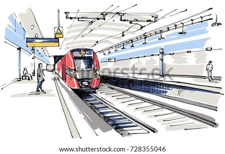 railway station sketch �������������������� 728355046 shutterstock