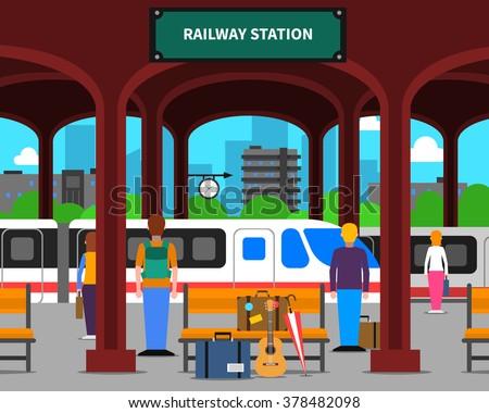 Railway station with locomotive and passengers on platform flat vector illustration - stock vector