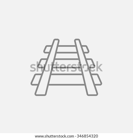 Railway track line icon for web, mobile and infographics. Vector dark grey icon isolated on light grey background.