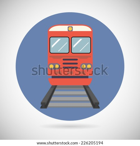 Railway Train Transport Carriage Symbol Railroad Rail Modern Flat Detailed Icon on Stylish Background  Design Vector Illustration - stock vector