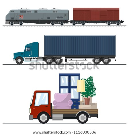 Railway Transportation And Trucking, Truck And Lorry With Furniture ,  Locomotive With Cargo Container ,