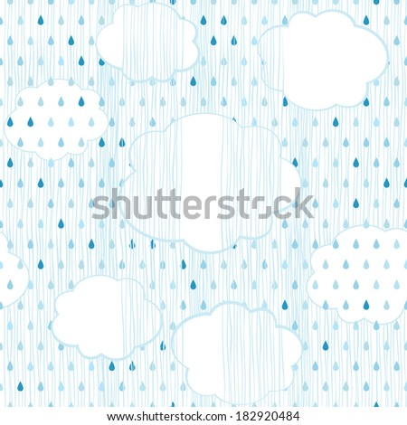 Rain and clouds. Seamless background. - stock vector