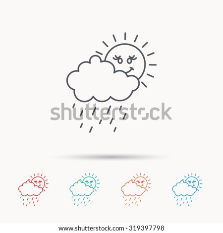 Rain and sun icon. Water drops and cloud sign. Rainy overcast day symbol. Linear icons on white background. Vector