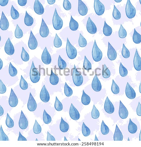 Rain Blue Raindrops Seamless Pattern Vector Stock Vector