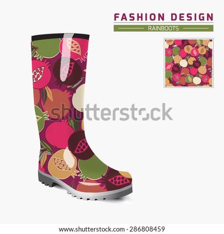 Rain boot trendy design concept fashion stock vector royalty free rain boot trendy design concept fashion illustration creative rubber boots design template seamless maxwellsz