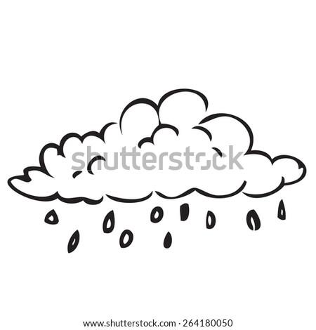 Rain Cloud Doodle - stock vector