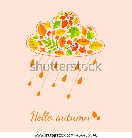 Rain cloud from fall leaves. Autumn welcoming background. Vector illustration easy to edit.