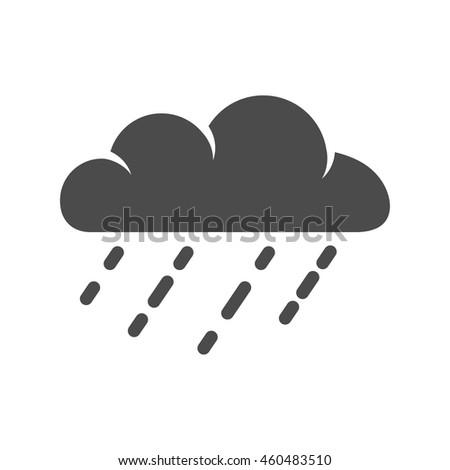 Rain cloud icon in single grey color. Season forecast - stock vector