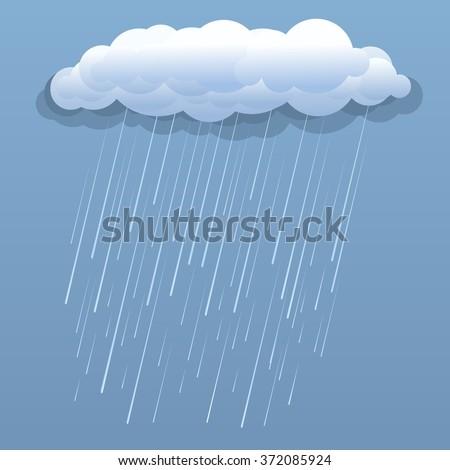 Rain cloud vector blue illustration isolated  - stock vector