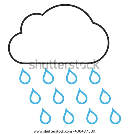 Rain Cloud vector icon. Style is contour bicolor flat icon symbol, blue and gray colors, white background.