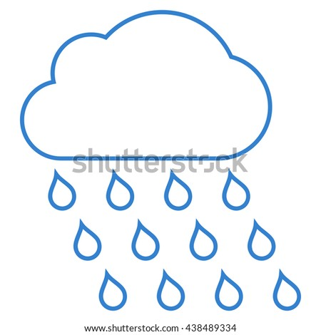 Rain Cloud vector icon. Style is stroke flat icon symbol, cobalt color, white background.