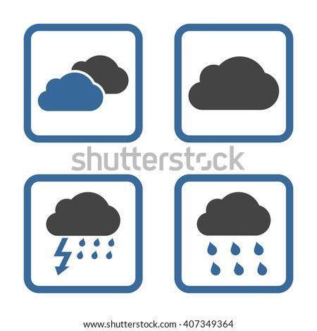 Rain Clouds vector bicolor icon. Image style is a flat icon symbol inside a square rounded frame, cobalt and gray colors, white background.