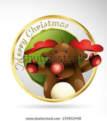 rain deer christmas logo illustration - stock vector