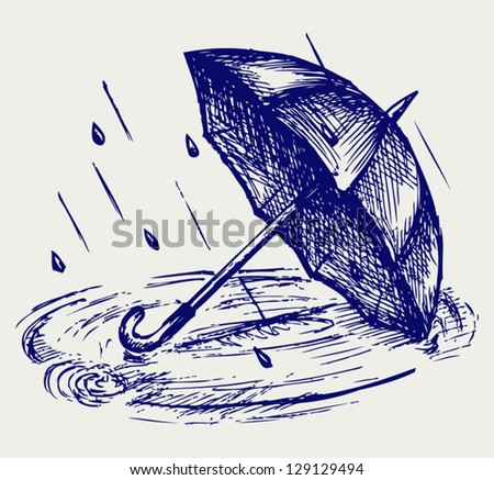 Rain drops rippling in puddle and umbrella. Doodle style - stock vector