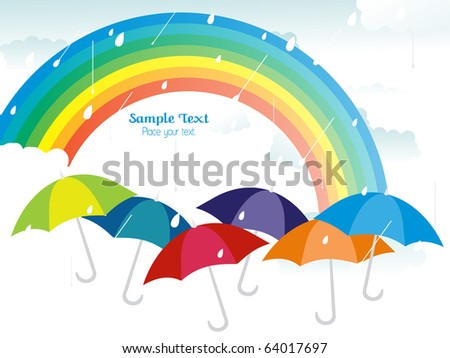 rain falling background with rainbow and colorful umbrellas - stock vector