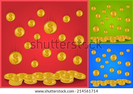 Rain From the Golden Coins with Dollar Sign Isolated on Color Background. Vector Illustration. - stock vector