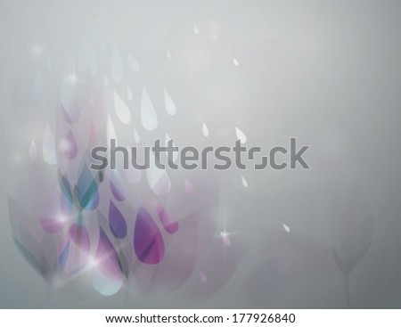 Rain in the garden / Fairy floral background with raindrops  - stock vector